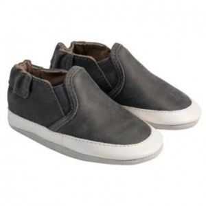 New! Robeez Charcoal Grey Liam Soft Soles
